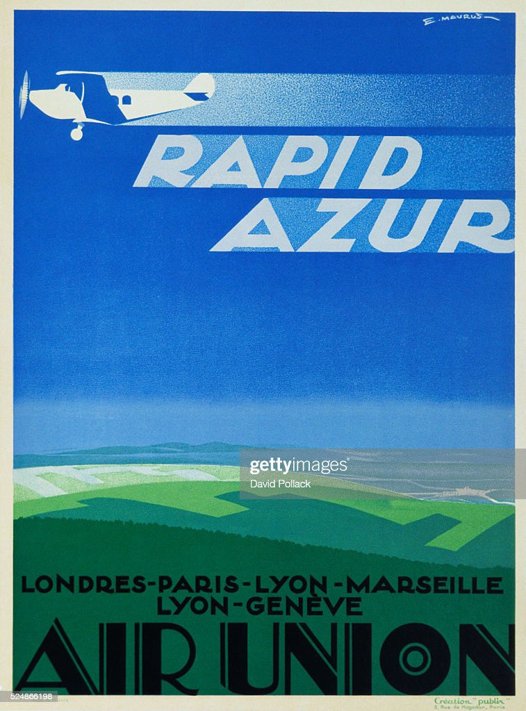 Rapid Azur - Air Union Airline Service Poster by E. Maurus