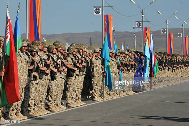 Rapid Deployment Forces of the nations members of the Collective Security Treaty Organization attend a ceremony marking their joint military...