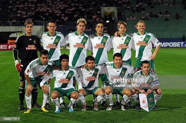 Rapid Vienna's team players pose before their UEFA Europa League group L football match against CSKA Sofia in Sofia on October 21 2010 AFP PHOTO /...