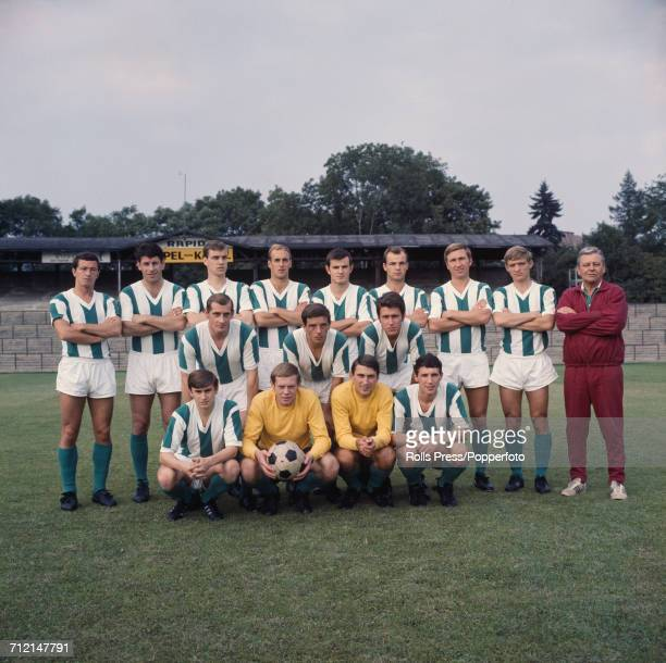 SK Rapid Wien 196869 team squad members pictured at their training ground in Vienna Austria on 16th August 1968 Back row left to right Rudi Flogel...