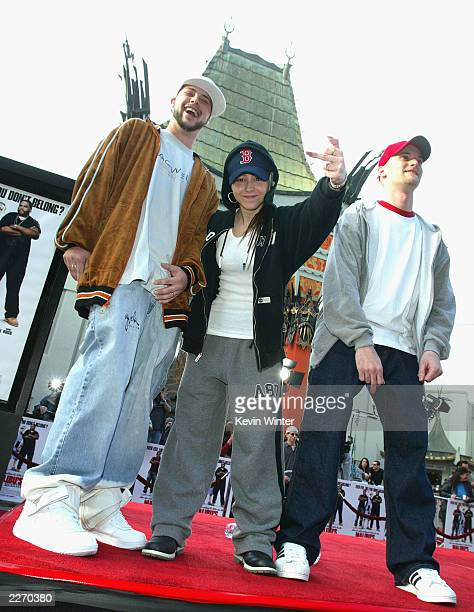 'RapOff' finalists Cutthroat Logic Diamond Bliss and Ser Lesson pose at the premiere of 'Malibu's Most Wanted' at the Chinese Theater on April 10...