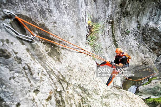 Rappeling down the cliff
