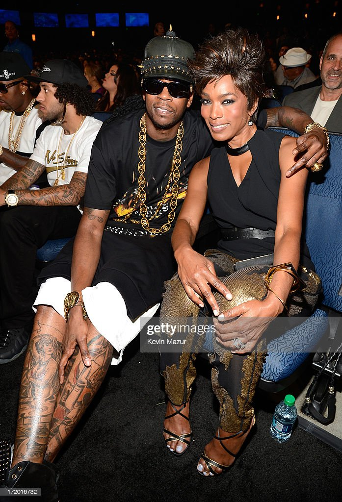 Rapper 2 Chainz and actress Angela Bassett during the 2013 BET Awards at Nokia Theatre L.A. Live on June 30, 2013 in Los Angeles, California.