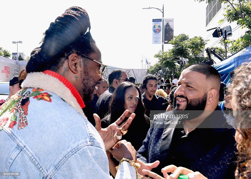 Rapper <a gi-track='captionPersonalityLinkClicked' href=/galleries/search?phrase=2+Chainz&family=editorial&specificpeople=8559144 ng-click='$event.stopPropagation()'>2 Chainz</a> (L) and <a gi-track='captionPersonalityLinkClicked' href=/galleries/search?phrase=DJ+Khaled&family=editorial&specificpeople=577862 ng-click='$event.stopPropagation()'>DJ Khaled</a> attend the 2016 BET Awards at the Microsoft Theater on June 26, 2016 in Los Angeles, California.