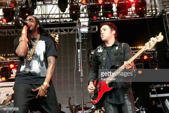 Rapper 2 Chainz and musician Peter Wentz of Fall Out Boy perform onstage during day 2 of the 2013 Coachella Valley Music Arts Festival Weekend 2 at...