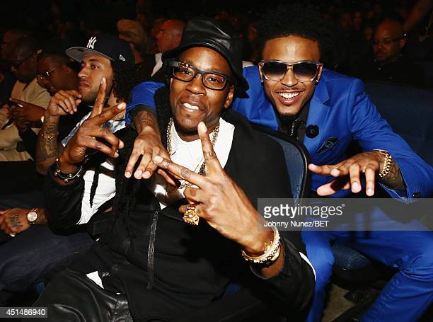 Rapper 2 Chainz and singer August Alsina attends the BET AWARDS '14 at Nokia Theatre LA LIVE on June 29 2014 in Los Angeles California