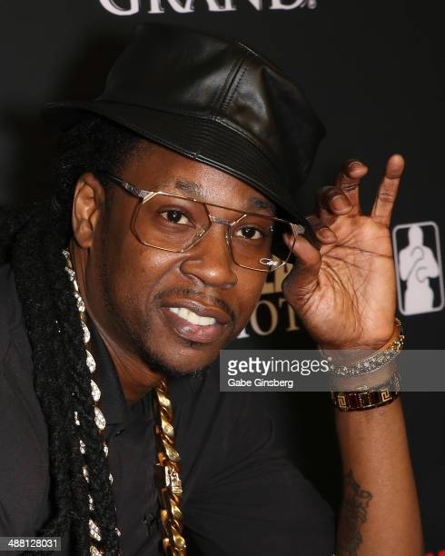 Rapper 2 Chainz arrives at the prefight party for 'The Moment Mayweather vs Maidana' at the MGM Grand Garden Arena on May 3 2014 in Las Vegas Nevada