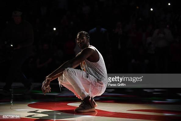 Rapper 2 Chainz performs at Atlanta Hawks postgame show at Philips Arena on December 30 2016 in Atlanta Georgia
