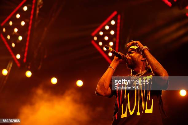Rapper 2 Chainz performs with DJ Khaled on the Sahara stage during day 3 of the Coachella Valley Music And Arts Festival at the Empire Polo Club on...
