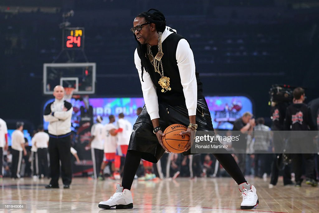 Rapper 2 Chainz plays basketball at half time during the 2013 NBA All-Star game at the Toyota Center on February 17, 2013 in Houston, Texas.