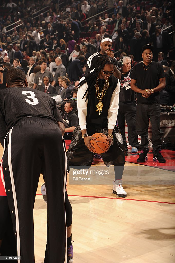 Rapper 2 Chainz shoots the ball during half-time warm-ups during the 2013 NBA All-Star Game presented by Kia on February 17, 2013 at the Toyota Center in Houston, Texas.