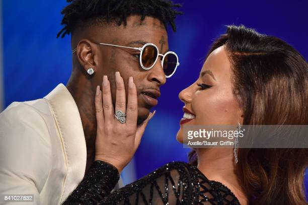 Rapper 21 Savage and model Amber Rose arrive at the 2017 MTV Video Music Awards at The Forum on August 27 2017 in Inglewood California