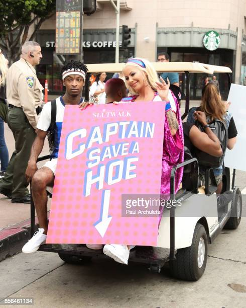 Rapper 21 Savage and Reality TV Personality / Model Amber Rose attend the 3rd annual Amber Rose SlutWalk on October 1 2017 in Los Angeles California