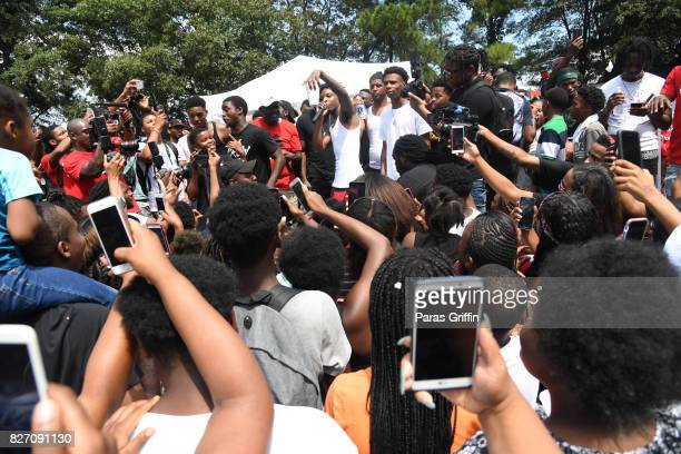 Rapper 21 Savage onstage at his 2nd Annual Back To School Drive at Libra Lounge on August 6 2017 in Decatur Georgia