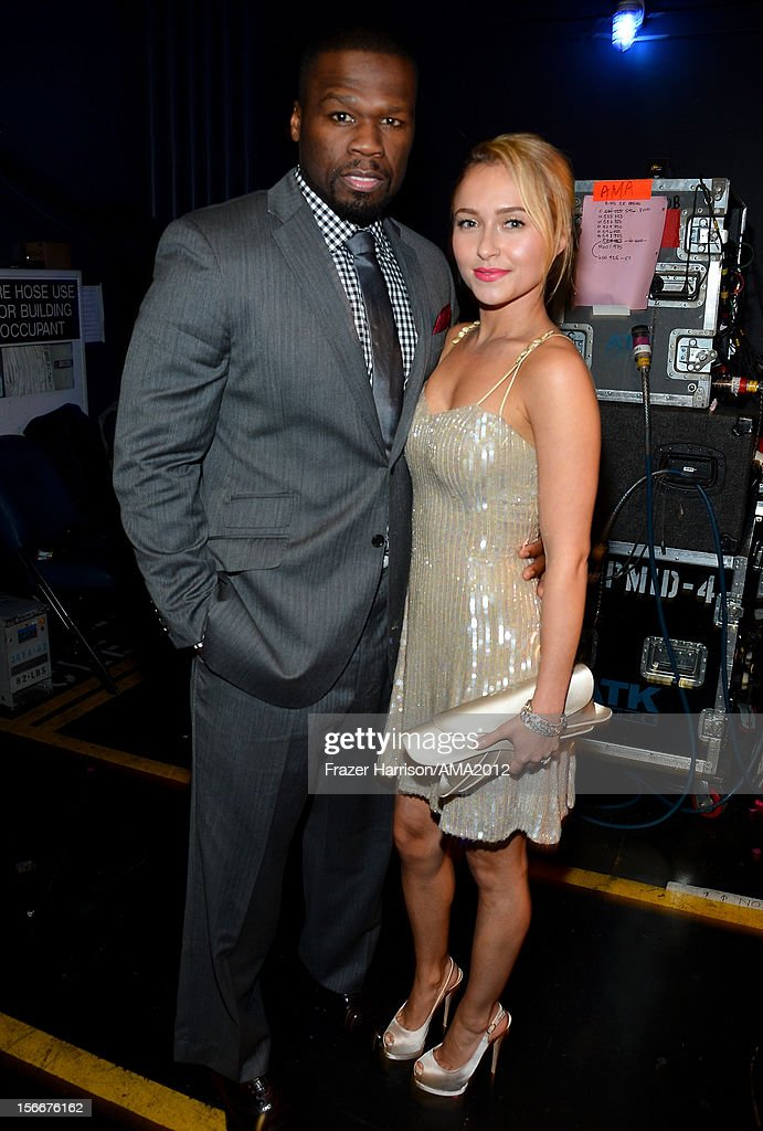 Rapper 50 Cent aka Curtis Jackson and actress Hayden Panettiere at the 40th American Music Awards held at Nokia Theatre L.A. Live on November 18, 2012 in Los Angeles, California.