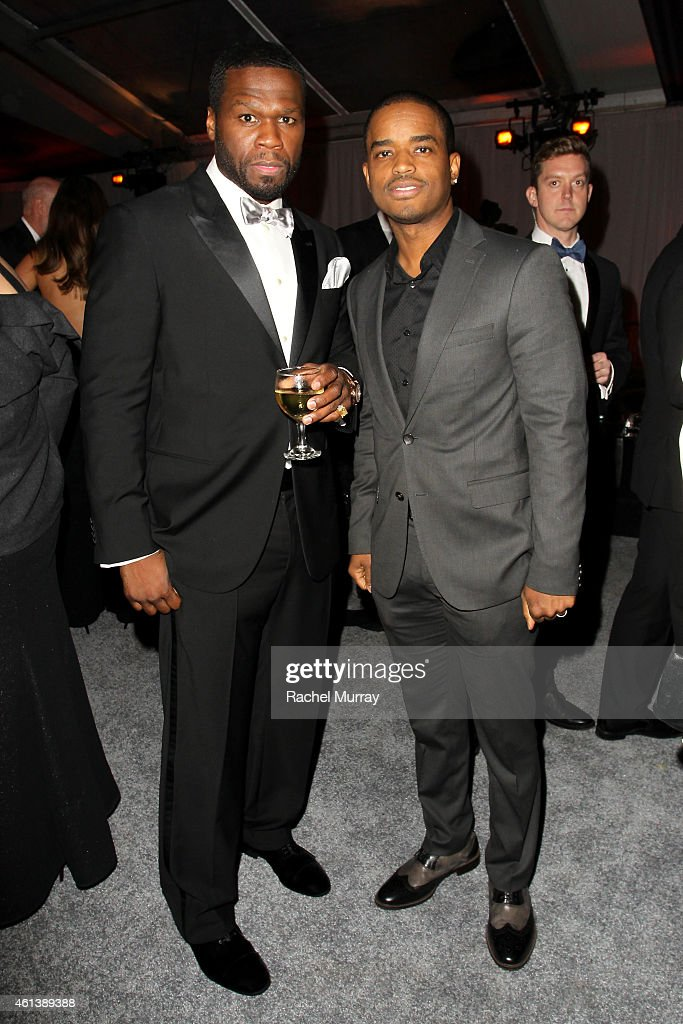 Rapper 50 Cent and actor Larenz Tate attend The Weinstein Company Netflix's 2015 Golden Globes After Party presented by FIJI Water Lexus Laura...