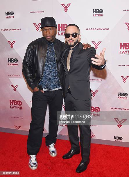 Rapper 50 Cent and musician Yandel attend the HBO Latino red carpet premiere of the 'Camino Al Concierto and Legacy De Lider a Leyenda' at Center 548...