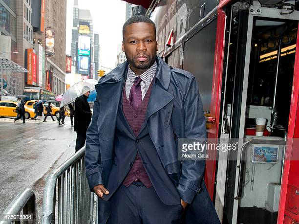 Rapper 50 Cent arrives in Times Square to hand out tickets to the New York premiere of 'Power' TV series on June 2 2015 in New York City