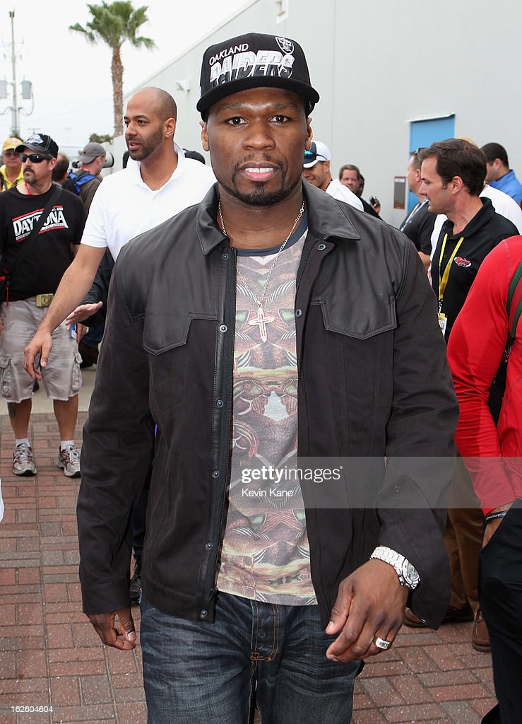 Rapper <a gi-track='captionPersonalityLinkClicked' href=/galleries/search?phrase=50+Cent+-+Rapper&family=editorial&specificpeople=215363 ng-click='$event.stopPropagation()'>50 Cent</a> at Daytona 500 at Daytona International Speedway on February 24, 2013 in Daytona Beach, Florida.