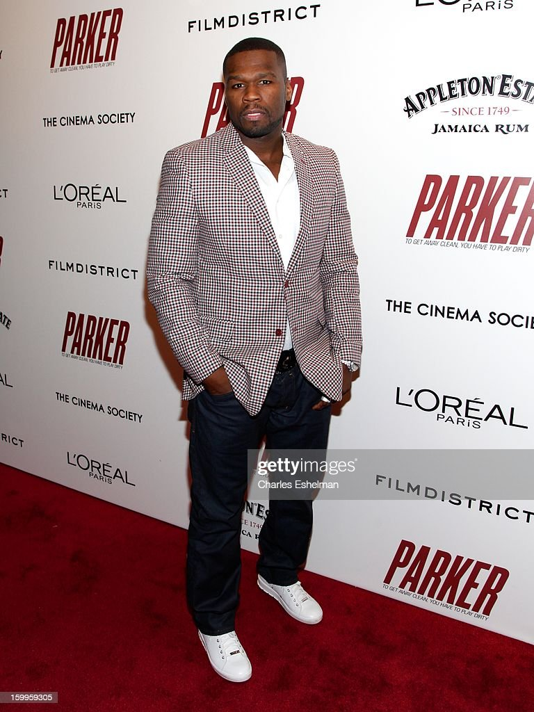 Rapper 50 Cent attends the FilmDistrict with The Cinema Society, L'Oreal Paris & Appleton Estate screening of 'Parker' at The Museum of Modern Art on January 23, 2013 in New York City.