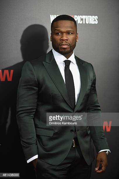Rapper 50 Cent attends the 'Southpaw' New York Premiere at AMC Loews Lincoln Square on July 20 2015 in New York City