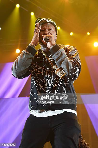 Rapper 50 Cent performs onstage during the 'Between The Sheets' tour at Barclays Center of Brooklyn on February 16 2015 in New York City