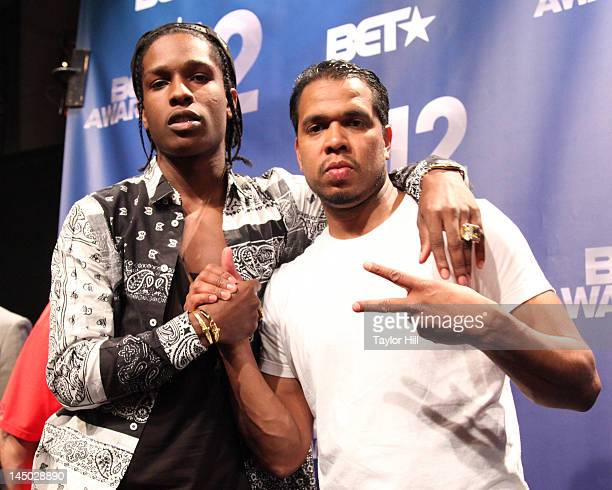 Rapper A$ap Rocky and photographer Johnny Nunez attend the BET Awards '12 Nominations Press Conference at BET Studios on May 22 2012 in New York City