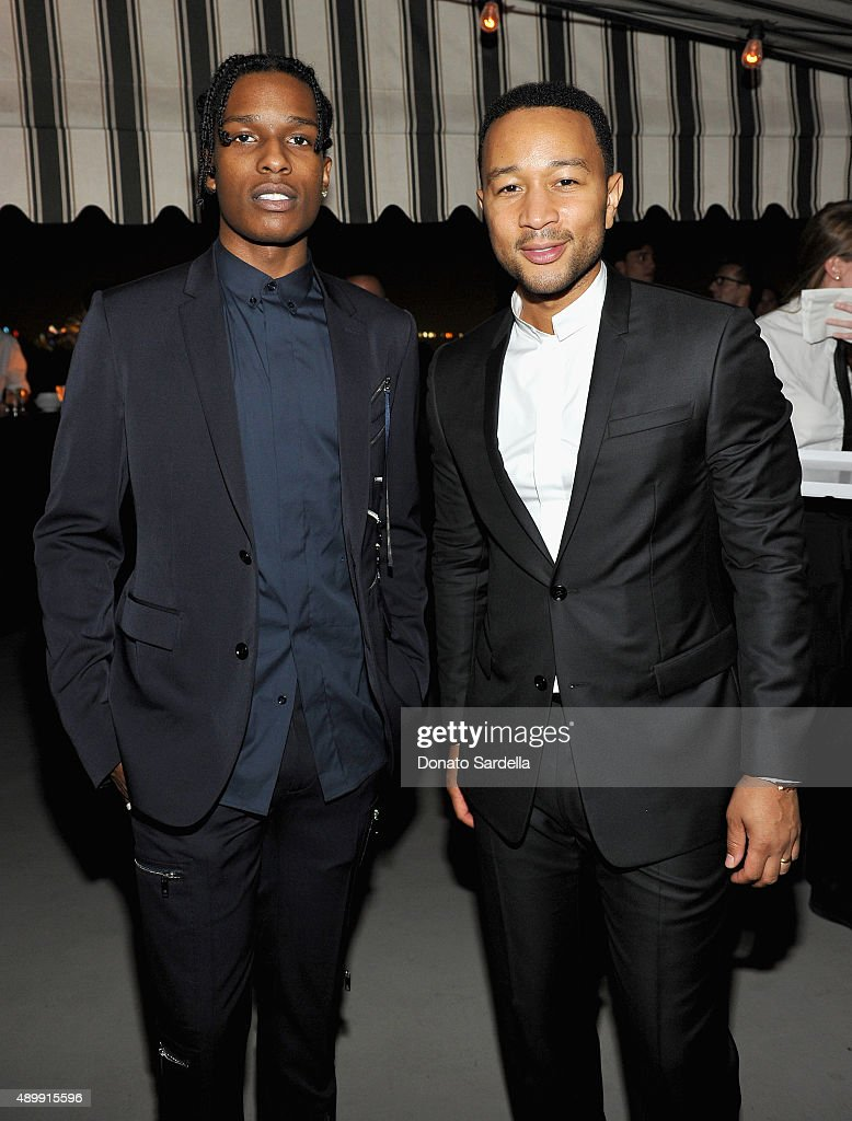 Rapper A$AP Rocky (L) and singer/songwriter John Legend attend a cocktail event hosted by Dior Homme's Kris Van Assche at Chateau Marmont on September 24, 2015 in Los Angeles, California.