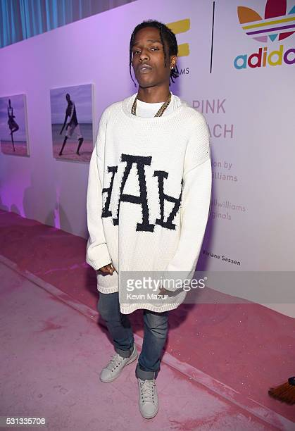 Rapper A$AP Rocky attends adidas Originals Pink Beach Pharrell Williams party on May 13 2016 in West Hollywood California