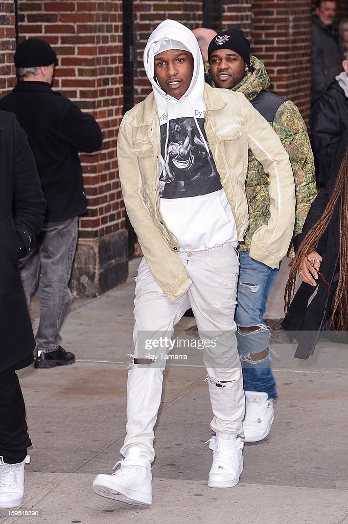Rapper A$AP Rocky enters the 'Late Show With David Letterman' taping at the Ed Sullivan Theater on January 15, 2013 in New York City.