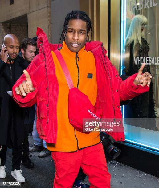 Rapper A$AP Rocky is seen arriving at the Calvin Klein Collection fashion show with new chief creative officer Raf Simons during New York Fashion...
