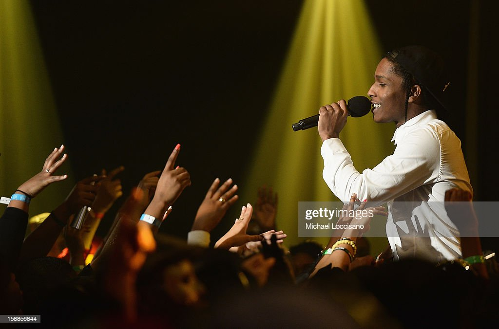 Rapper A$AP Rocky performs during BET's 106 And Park 2013 New Years Eve Party at BET Studios on December 17, 2012 in New York City.