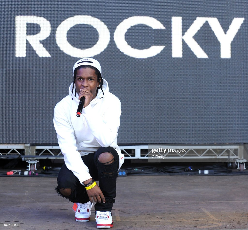 Rapper A$AP Rocky performs during the 2012 Boost Mobile & Guerilla Union Rock the Bells Music Festival powered by Blackberry at Shoreline Amphitheatre on August 25, 2012 in Mountain View, California.