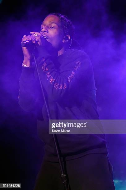 Rapper A$AP Rocky performs onstage during day 1 of the 2016 Coachella Valley Music Arts Festival Weekend 1 at the Empire Polo Club on April 15 2016...