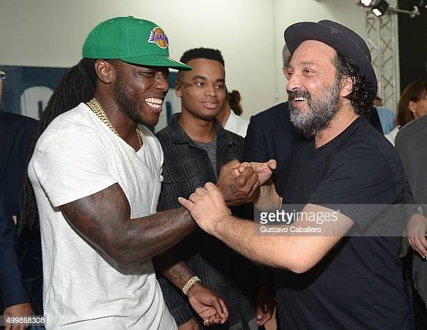 Rapper Ace Hood and artist Mr Brainwash attend Haute Living and Hublot Celebrating Lapo Elkann on December 3 2015 in Miami Florida
