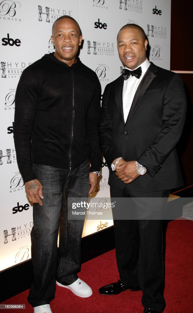 Rapper /actor Xzibit and music producer / rapper Dr Dre attend the launch party for Bonita Platinum Tequila at Hyde Bellagio at the Bellagio on March 2, 2013 in Las Vegas, Nevada.