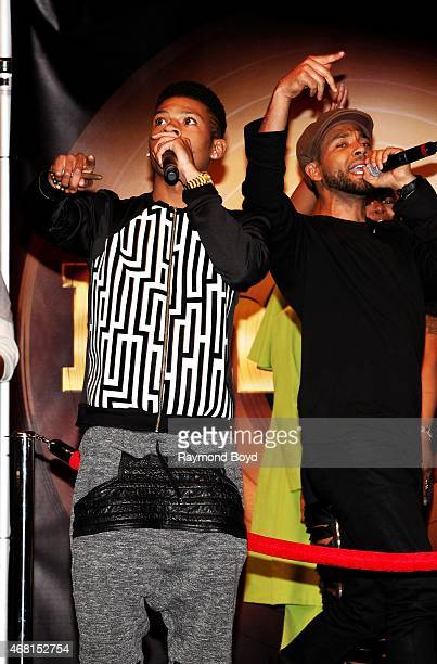 Rapper and actor Bryshere Gray and actor singer and songwriter Jussie Smollett from the FOX TV show 'Empire' performs during the 'Empire' cd signing...