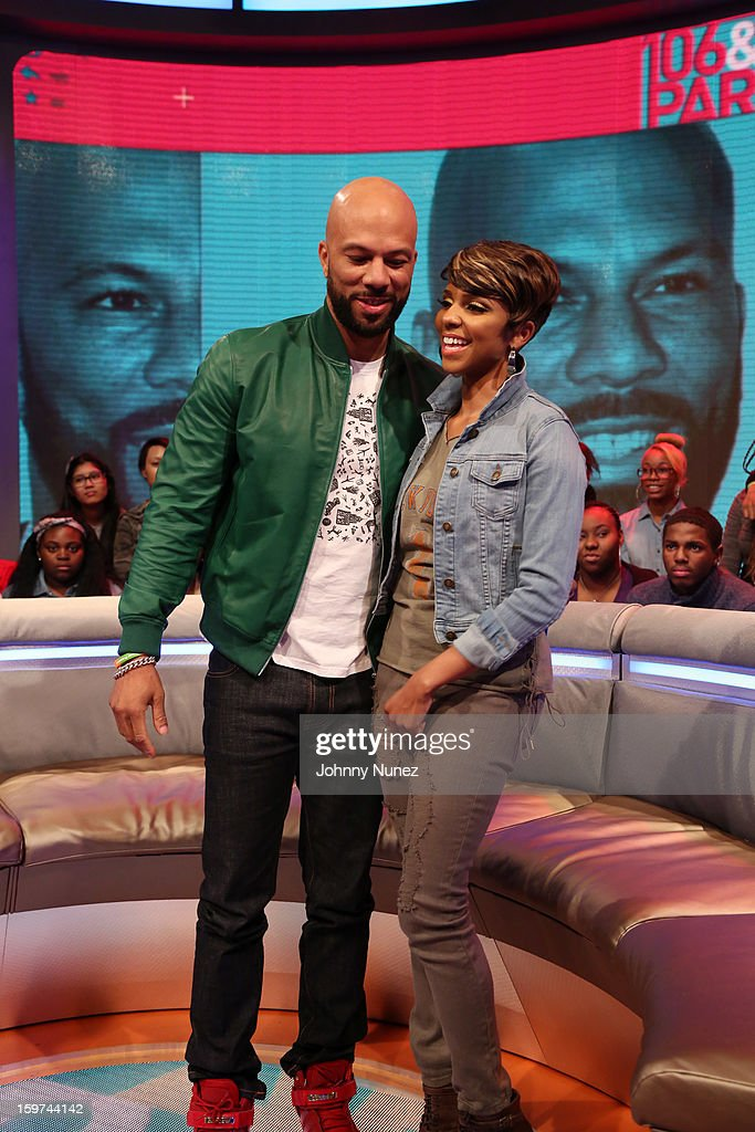 Rapper and actor common visits BET's '106 & Park' with host Ms. Mykie at 106 & Park Studio on January 18, 2013 in New York City.