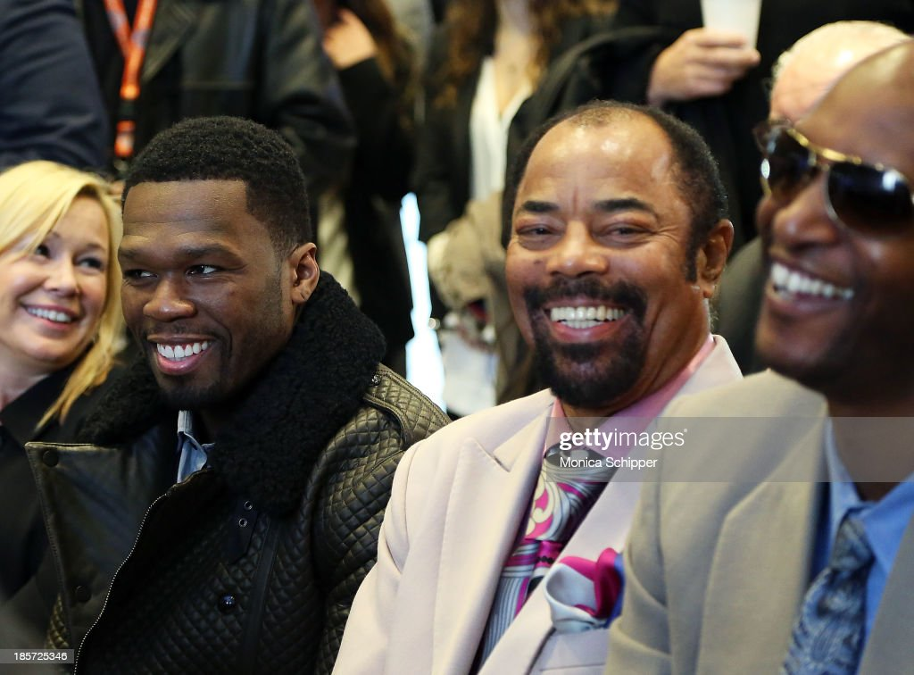 Rapper and actor Curtis '<a gi-track='captionPersonalityLinkClicked' href=/galleries/search?phrase=50+Cent+-+Rapper&family=editorial&specificpeople=215363 ng-click='$event.stopPropagation()'>50 Cent</a>' Jackson and Former professional basketball player Walt 'Clyde' Frazier attend the unveiling of Madison Square Garden on October 24, 2013 in New York City.