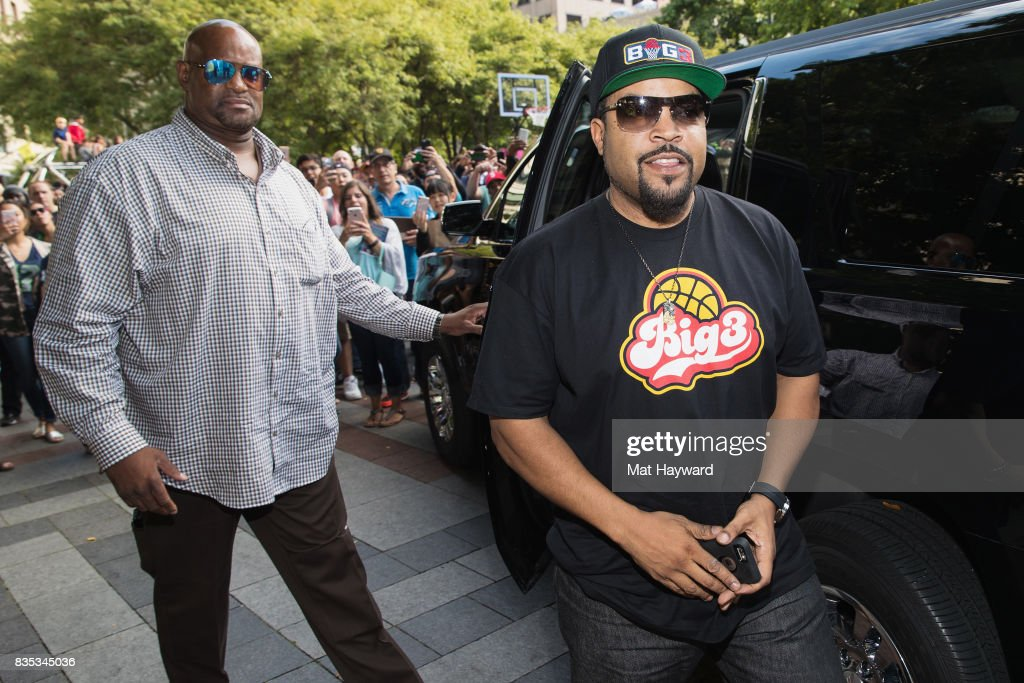 Rapper and actor Ice Cube arrives for a BIG3 professional 3 on 3 basketball promotional event at Westlake Center on August 18, 2017 in Seattle, Washington.