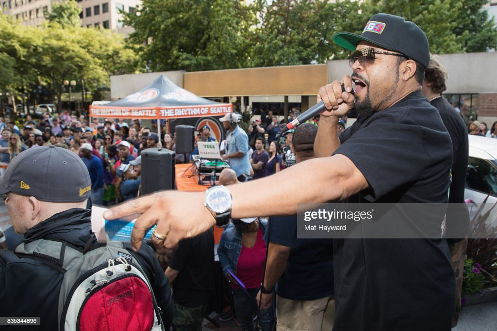 Rapper and actor Ice Cube speaks on stage during a promotion for BIG3 professional 3 on 3 basketball at Westlake Center on August 18, 2017 in Seattle, Washington.