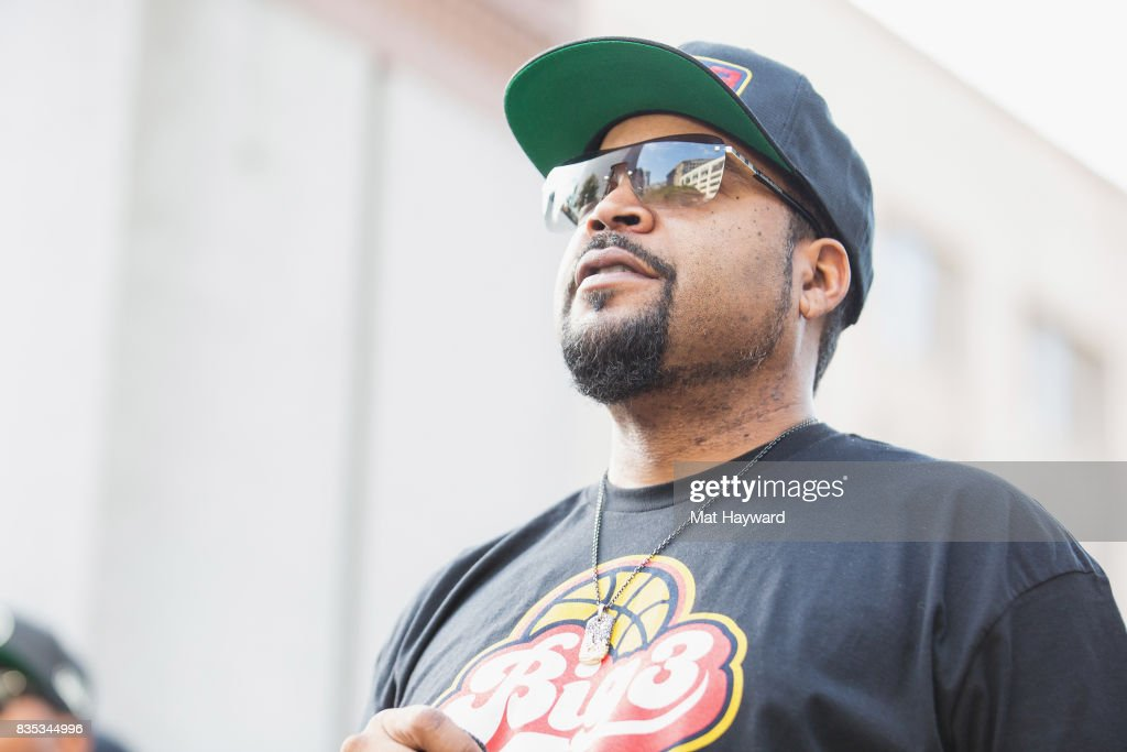 Rapper and actor Ice Cube speaks on stage during a promotional appearance for BIG3 professional 3 on 3 basketball at Westlake Center on August 18, 2017 in Seattle, Washington.