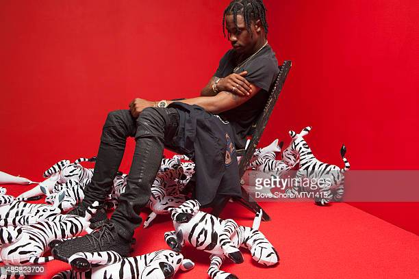 Rapper and record producer Travis Scott is photographed at the 2015 MTV VMA Awards on August 30 2015 at the Microsoft Theater in Los Angeles...