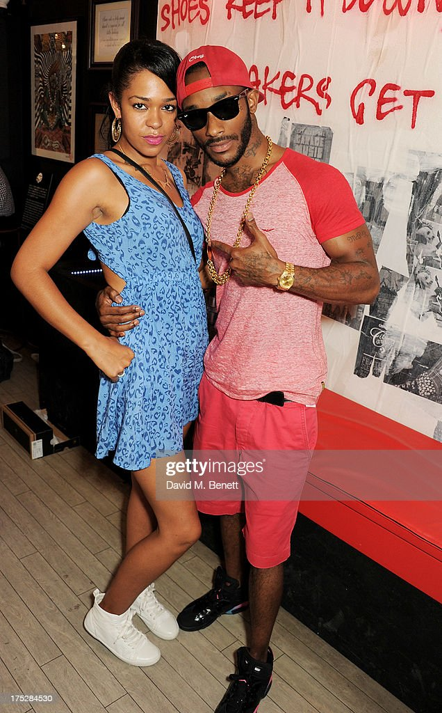Rapper Angel (R) and guest Michelle attend Converse At The Circle, celebrating the Chuck Taylor All Star 'Rock Craftsmanship' collection, on August 1, 2013 in London, United Kingdom.