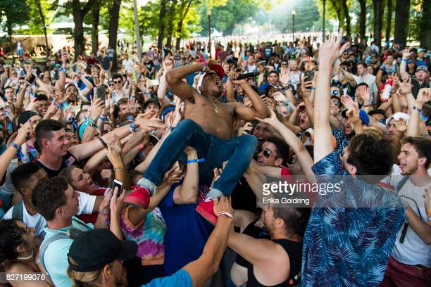 Rapper Anthony Dixson aka Boogie performs during Lollapalooza at Grant Park on August 6 2017 in Chicago Illinois