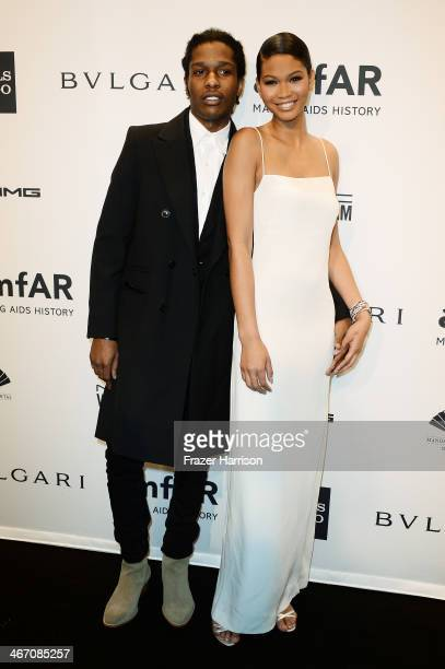 Rapper ASAP Rocky and Chanel Iman attend the 2014 amfAR New York Gala at Cipriani Wall Street on February 5 2014 in New York City