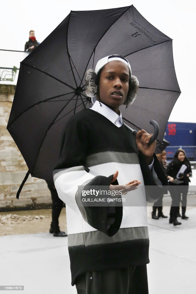 US rapper Asap Rocky (aka A$ap Rocky) arrives to attend the Christian Dior Haute Couture Spring-Summer 2013 collection show by Belgian designer Raf Simons on January 21, 2013 in Paris.