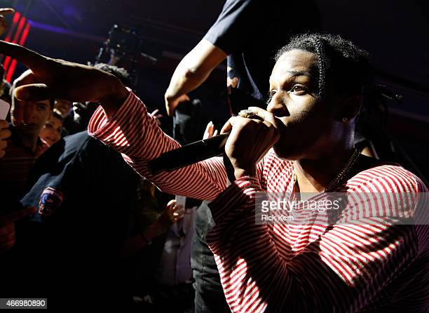 Rapper ASAP Rocky performs onstage at the Samsung Milk Music Lounge featuring A$AP Rocky on March 19 2015 in Austin Texas