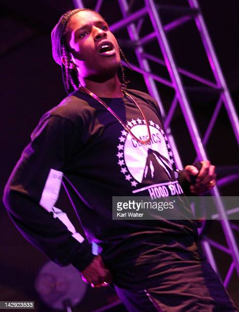 Rapper ASAP Rocky performs onstage during day 2 of the 2012 Coachella Valley Music Arts Festival at the Empire Polo Field on April 14 2012 in Indio...