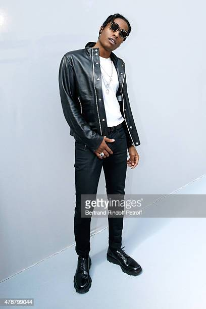 Rapper ASAP Rocky poses Backstage after the Dior Homme Menswear Spring/Summer 2016 show as part of Paris Fashion Week on June 27 2015 in Paris France